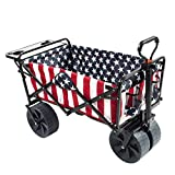 Mac Sports Collapsible Folding Outdoor Wagon with Side Table, Perfect for Camping, Concerts, Sporting Events, The Beach, and More - American Flag Pattern