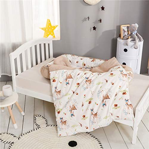 Baby Nest for Girls Bed Baby Lounger Newborn Infant Bassinet Co-Sleeping Portable Cribs with Woodland Animal for Bedroom Travel Camping, Breathable and Soft