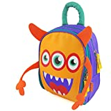 Zebrum Insulated Kids Lunch Box for School Boys &Girls with Dual Compartments, Colorful Spring/Summer Kindergarten Lunch Bag Cooler, Cute Cartoon Monster (Orange &Purple)