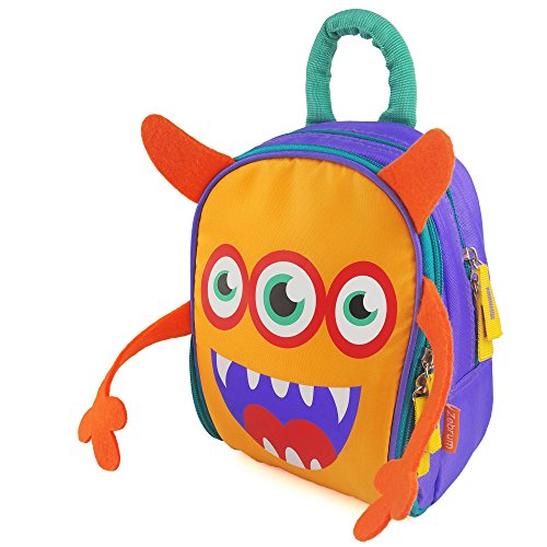 Insulated Kids Lunch Box for School Boys &Girls with Dual Compartments, Zebrum Kindergarten Lunch Bag Cooler, Cute Cartoon Monster (Orange &Purple)