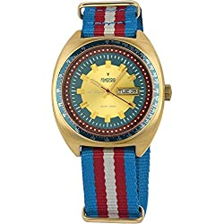Men's Italian Designed Taxi Driver by Fonderia Gold Tone Blue and Red Dial with Red, White and Blue Nylon Band Quartz Watch P-8G004UC1