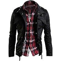 Zicac Men's Casual Fashion Military Zip Button Cotton Jacket Coat