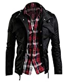 Zicac Men's Casual Military Jacket Zip Button Long Sleeves Cotton Coat Windbreaker (L, Black)