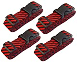 Lc.Courage Adjustable Luggage Straps/Travel Bag Strap/Suitcase Belts (Red/Black 4-Pack) …