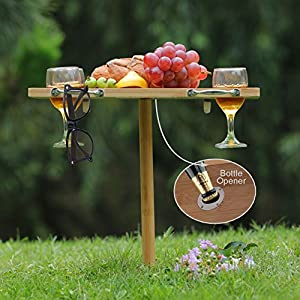 INNOSTAGE Portable and Foldable Wine and Snack Table for Picnic Outdoor on the Beach Park or Indoor Bed-4 Positions