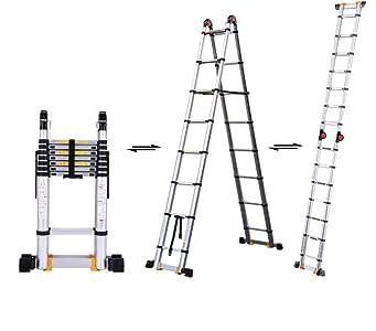 DD Escalera Telescópica Aluminio 2.9M/9.5 Pies, Escalera Marco Multiusos