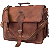 DHK 18 Inch Unisex Real Leather Handmade Messenger Bag for Laptop Briefcase Satchel School Distressed Bag