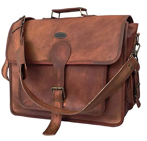 DHK 18 Inch Unisex Real Leather Handmade Messenger Bag for Laptop Briefcase Satchel School Distressed Bag