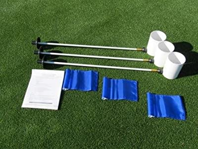 """Golf Practice Putting Green - Natural or Synthetic - Deluxe Accessory Kit - (3) Bright White Plastic 6"""" Deep Regulation Cups + (3) Solid Blue Jr Flags + (3) 30"""" White Fiberglass Pin Markers with Ball Lifter Disk"""