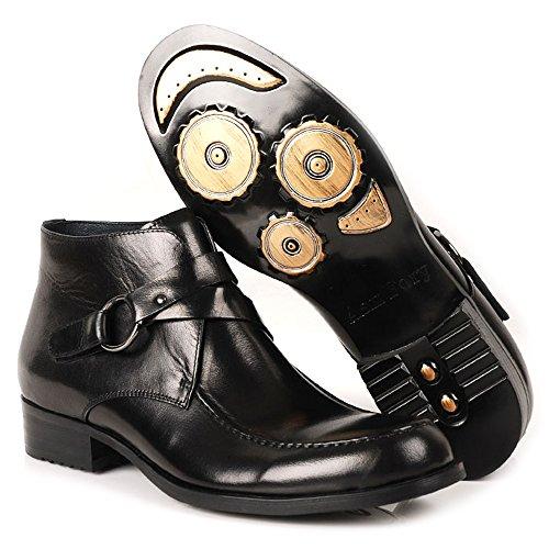Fulinken Men's Two-tone Leather Formal Dress Shoes Oxford Boots Buckled Chelsea Boots (12 D(M) US, Black)