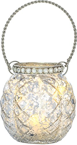 Cultural Intrigue Luna Bazaar Hanging Mercury Glass Candle Holder with Rhinestones (2.5-Inch, Aria Design, Silver) - for Use with Tea Lights - for Home Decor, Parties, and Wedding Decorations
