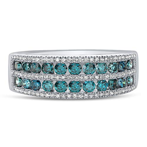 Diamond Couture 14K White Gold 0.65 Carats of Shimmering Blue Diamonds and 0.10 Carats of Sparkling White Diamonds Wedding Ring, Diamond Engagement Ring or Wedding Band for Women, Size 7