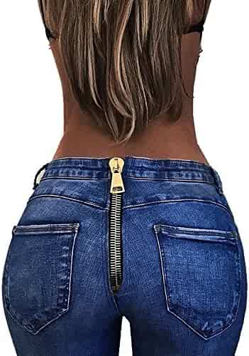 aed522bccdf iLUGU Women High Waist Trousers Sexy 3t Boys Pants Back Zipper Pencil  Stretch Denim Jeans Pants
