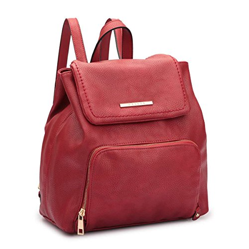 Classic Faux Leather Women 7170 burgundy Backpack MKY Fashion Daypack Drawstring Casual Shoulder College Bag 4x84wn