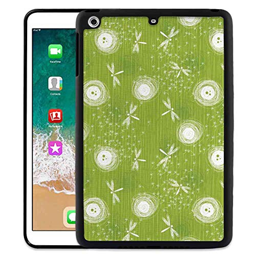 Case TPU+PC for iPad Mini 2 (2013) (7.9inch) Dragonfly Sketch Style Dandelion Flower Petals Spring Beauty Nature Blossom Image Lime Green Cream
