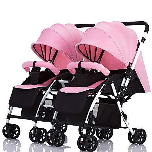 Twin Baby Stroller Detachable Handle Reversible Infant Carriage Can Sit and Lie Down Lightweight Foldable Double Trolley (Color : Pink)