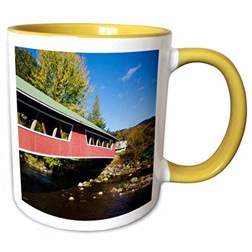 3dRose Danita Delimont - Bridges - USA, New Hampshire, Jackson. Covered Bridge in Wentworth Country Club. - 15oz Two-Tone Yellow Mug ()