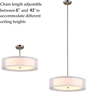 """TZOE DrumLight,Double Drum Chandelier,White 3 Light Drum Pendant Light,20"""",Glass Diffuser,Adjustable Height,Brushed Nickel Finish,UL Listed"""