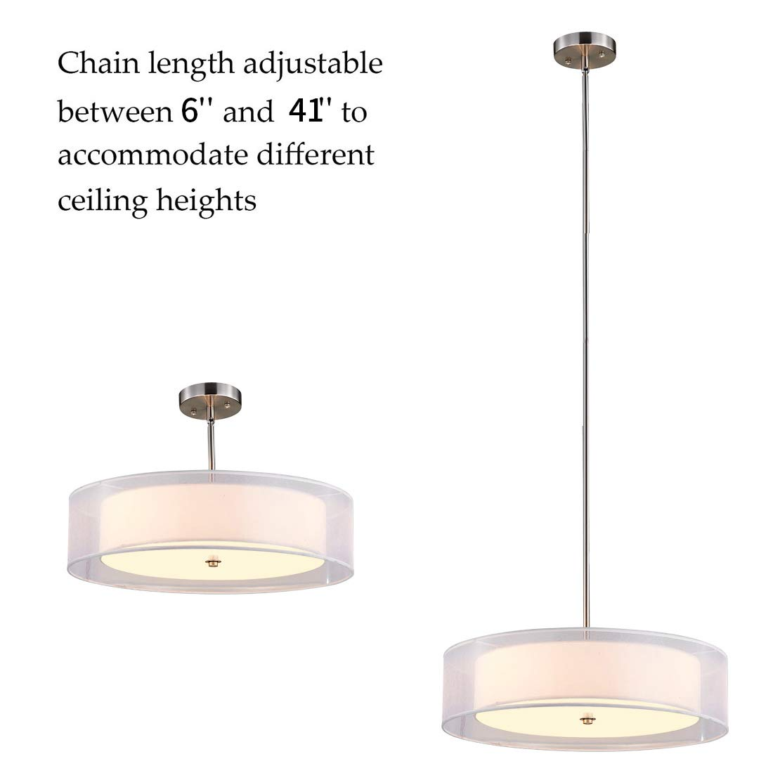 Drum Light,Double Drum Chandelier,White 3 Light Drum Pendant Light,20 ,Glass Diffuser,Adjustable Height,Brushed Nickel Finish,UL Listed by TZOE