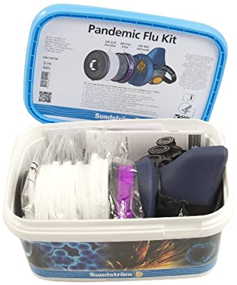 Sundstrom H05-5421M Pandemic Flu Respirator Kit with SR 100 M/L Silicone Half Mask, P100/HE Particulate Filter and Prefilters