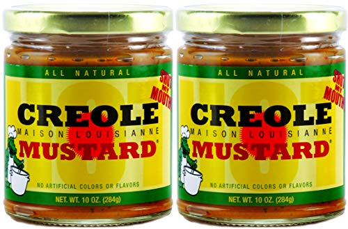 CREOLE MUSTARD - All Natural Gourmet Creole Ground Mustard, Fat Free and Mildly Spicy Mustard, Maison Louisianne Shut-My-Mouth Mustard, Two (2) 10oz jars ()
