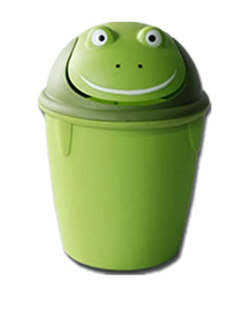 Moolecole Creative Cute Green Frog Plastic Trash Bin Waste Bin Table Office  Desk Mini Dustbin Trash