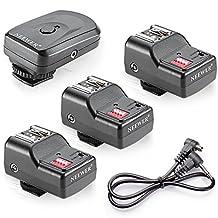 Neewer 16 Channel Wireless Flash Trigger Set 1 Transmitter + 3 Receivers + 1 Sync Wire Cable for Canon 580EX II 580EX 550EX 540EZ 520EZ 430EX 430EZ 420EX 420EZ 380EX, Nikon SB-800 SB-600 SB-28 SB-27 SB-26 SB-25 SB-24, Olympus FL-50 FL36, Pentax AF-540 FGZ AF-360 FGZ AF-400 FT AF-240 FT, Sigma EF-500 DG Super EF-500 DG ST EF-430, Sunpak Auto 2000DZ 622 Pro 433AF 433D 383 355AFm 344D 333D, Vivitar 285HV and Other Flash Units with Universal Hot Shoe