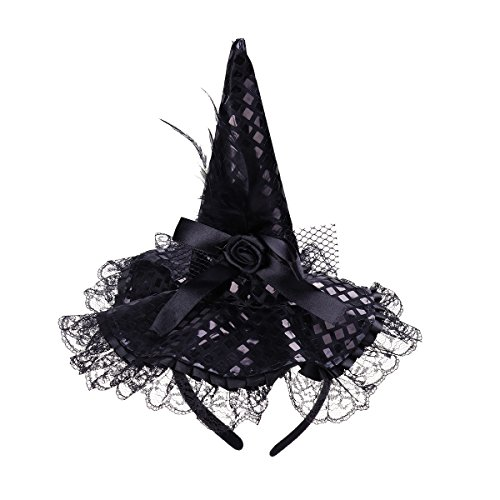 Tinksky Children Halloween Headband Feather Party Witch Hat for Costume Dress up Party Performance Supplies (Black)