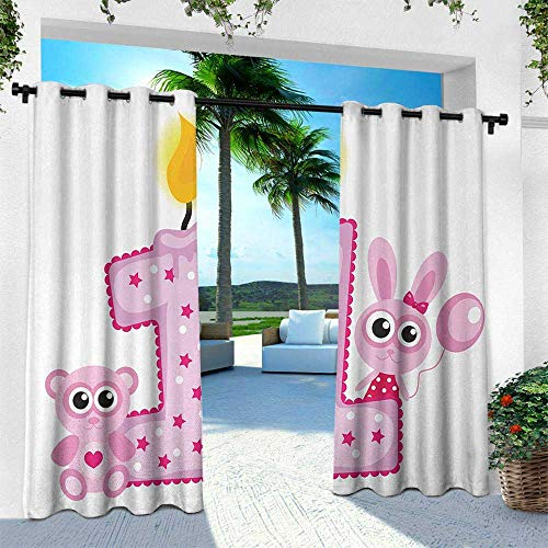 (1st Birthday, for Patio Light Block Heat Out Water Proof Drape,Girls Party Theme with First Candle Bunny and Bear Animals Image, W96 x L108 Inch, Hot Pink and Lilac)