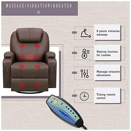 Living Room Furniwell Recliner Chair Massage Leather Living Room Chair Home Theater Seating Heated Overstuffed Single Sofa 360…