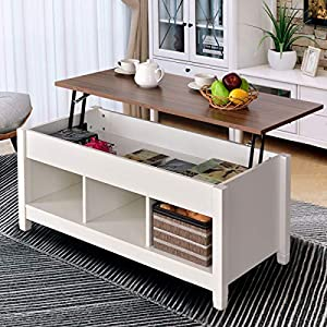 Tangkula Coffee Table Lift Top Wood Home Living Room Modern Lift Top Storage Coffee Table w/Hidden Compartment Lift Tabletop Furniture