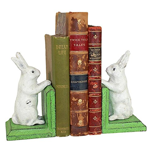 Design Toscano Bookworm Bunny Rabbits Cast Iron Sculptural Bookend (Cast Iron Bunny)