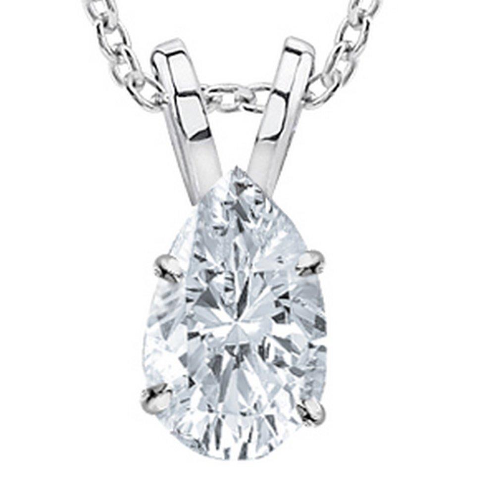 0.53 Carat 14K White Gold Pear Diamond Solitaire Pendant Necklace F Color SI1 Clarity, w/ 16'' Silver Chain