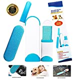 Lint Remover Tool Pet Hair Removal with Self-Cleaning Base Double Sided Lint Remover for Car,Clothes,Bed,Couch,Carpet,Furniture,Dog,Blue