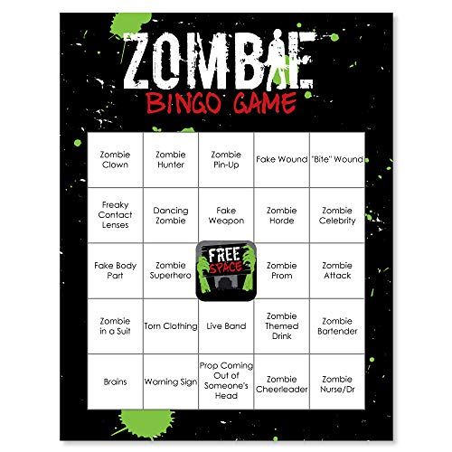 Big Dot of Happiness Zombie Zone - Halloween or Birthday Zombie Crawl Party Bingo Game and Bar Bingo Game Cards - 16 Count