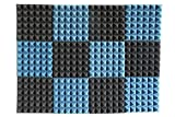 """12 Pack - Ice Blue/Charcoal Acoustic Foam Sound Absorption Pyramid Studio Treatment Wall Panels, 2"""" X 12"""" X 12"""""""