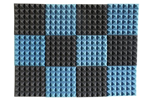 12 Pack - Ice Blue/Charcoal Acoustic Foam Sound Absorption Pyramid Studio Treatment Wall Panels, 2' X 12' X 12'