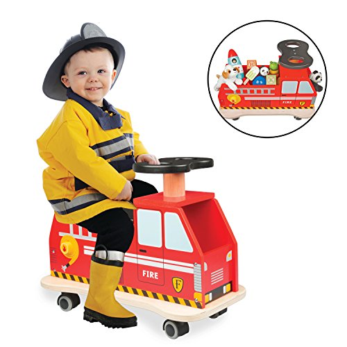 Svan Ride On Fire Truck Solid Wood - Removable Seat Turns Into Toy -