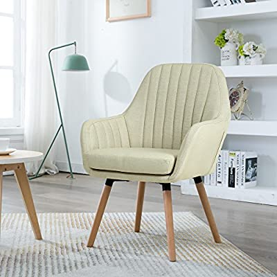 "LSSBOUGHT Contemporary Indoor Muted Fabric Arm Chair, Accent Chair with Solid Wood Frame Legs (Beige) - Sold as one arm chair, frame construcation have been rigorously tested during simulated house and transportation environment to improve durability. Overall dimension: 23"" D X 26"" W X 36.5"" H, dimension details showed in the display picture. Solid wood frame legs come in a light brown finish. Corners are glued, blocked and stapled. - living-room-furniture, living-room, accent-chairs - 51aT6LKHVQL. SS400  -"