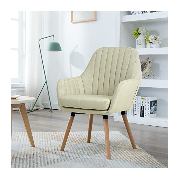 """LSSBOUGHT Contemporary Indoor Muted Fabric Arm Chair, Accent Chair with Solid Wood Frame Legs (Beige) - Sold as one arm chair, frame construcation have been rigorously tested during simulated house and transportation environment to improve durability. Overall dimension: 23"""" D X 26"""" W X 36.5"""" H, dimension details showed in the display picture. Solid wood frame legs come in a light brown finish. Corners are glued, blocked and stapled. - living-room-furniture, living-room, accent-chairs - 51aT6LKHVQL. SS570  -"""