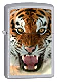 Zippo Lighter: Tiger Teeth - Satin Chrome