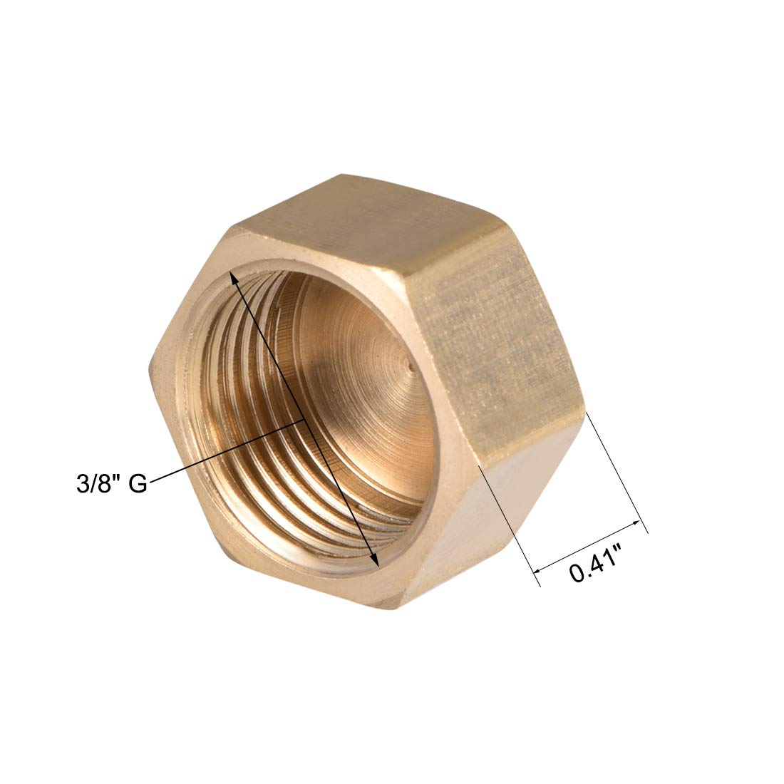 Sourcingmap Tap/ón de lat/ón para tuber/ía hexagonal 1 pulgada, 1//8 pulgada, 1//2 pulgada, 3//4 pulgada, conector hembra G
