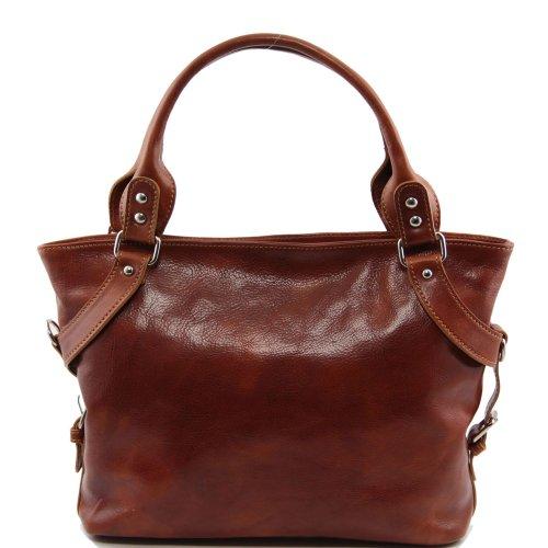 Tuscany Leather - Bolso al hombro de piel de cerdo para mujer Beige beige