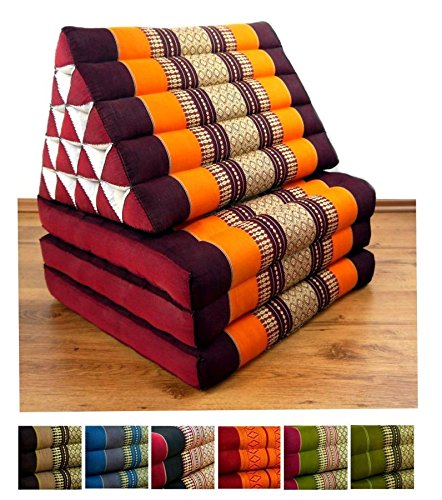 orange LivAsia XXL Three Fold Thai Cushion, 74x22x3 inches (LxWxH),extra big Triangle for Backrest, 100% Natural Kapok Filling, Foldable Thai Mat with Triangle Cushion, Headrest, Thai Pillow