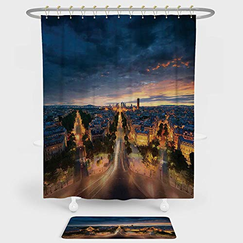 iPrint Paris Decor Shower Curtain And Floor Mat Combination Set Paris Street View Avenue Boulevard Panoramic Dramatic Night Sky Downtown For decoration and daily use (Sky Neo Night Angle)