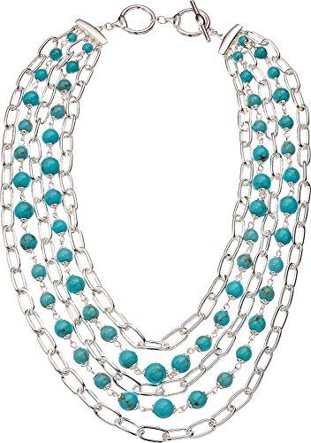 (Lauren Ralph Lauren Women's Turquoise Multi Row Necklace 18