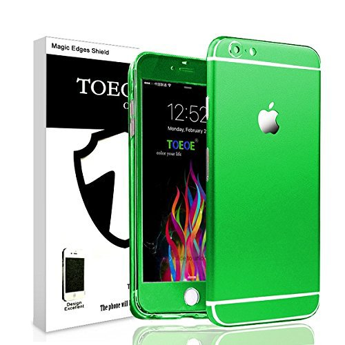 Toeoe 6/6s (4.7) High-strength and Super-thin Tough Metallic Film Sticker Full Body Protector Skin + Ultra Clear Front Screen Protector for iPhone 6/6s (Green)
