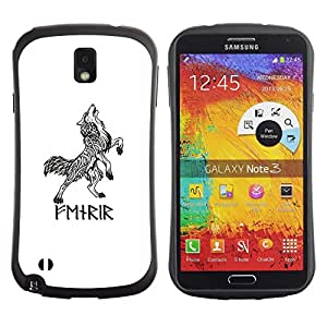 LASTONE PHONE CASE / Suave Silicona Caso Carcasa de Caucho Funda para Samsung Note 3 N9000 N9002 N9005 / Celtic Viking wolf white black ink tattoo