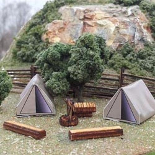Osborn Models HO Scale CAMPING SCENE Tents, Fire Pit, Benches New Kit - Camping Model Accessories