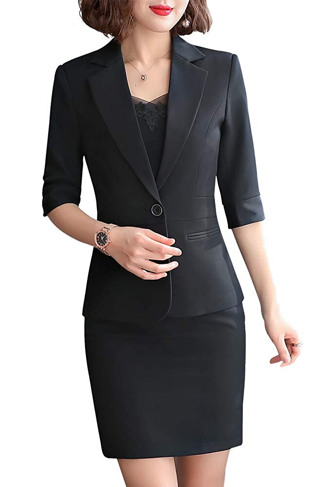 Blackqz806 LISUEYNE Women Blazer Two Pieces Work Office Blazer Suit Formal Business Suits for Women Blazer Jacket &Pant Skirts